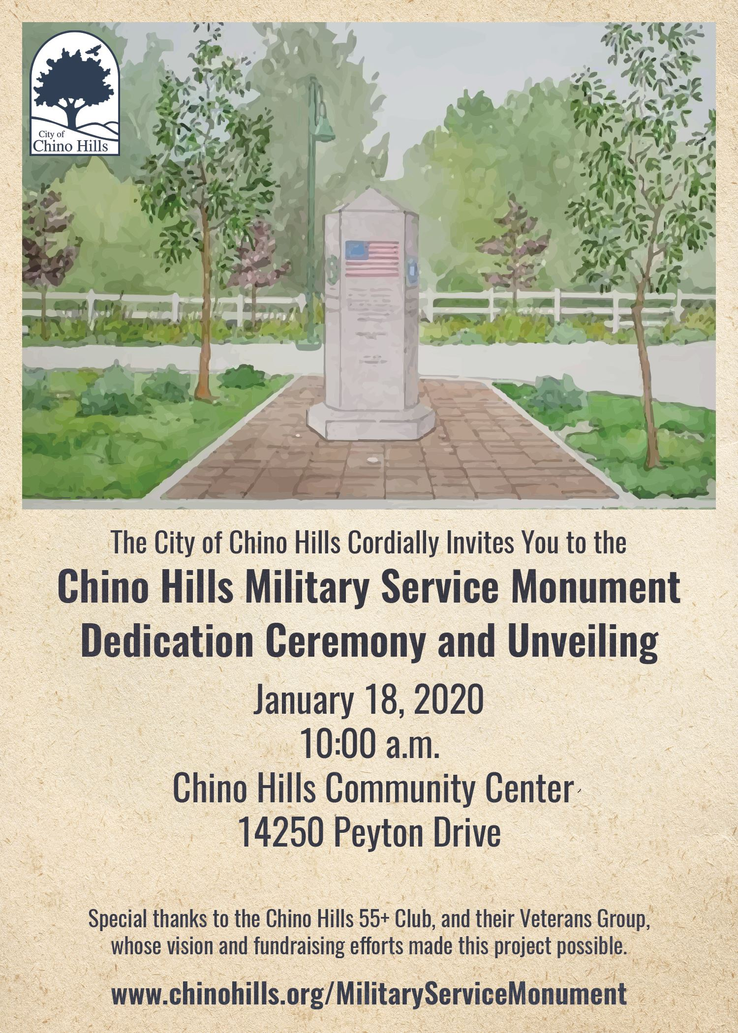 Chino Hills Military Service Monument Dedication and Unveiling Event