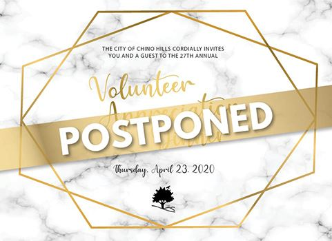 Graphic of Volunteer Dinner invitation with word postponed across it