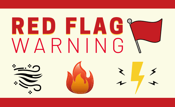 RED FLAG WARNING with Wind Fire and Electricity Icons