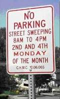 No Parking Sign for Street Sweeping