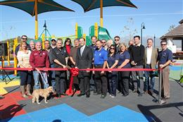 Photo of the Ribbon Cutting at the new Vila Borba Park Playground