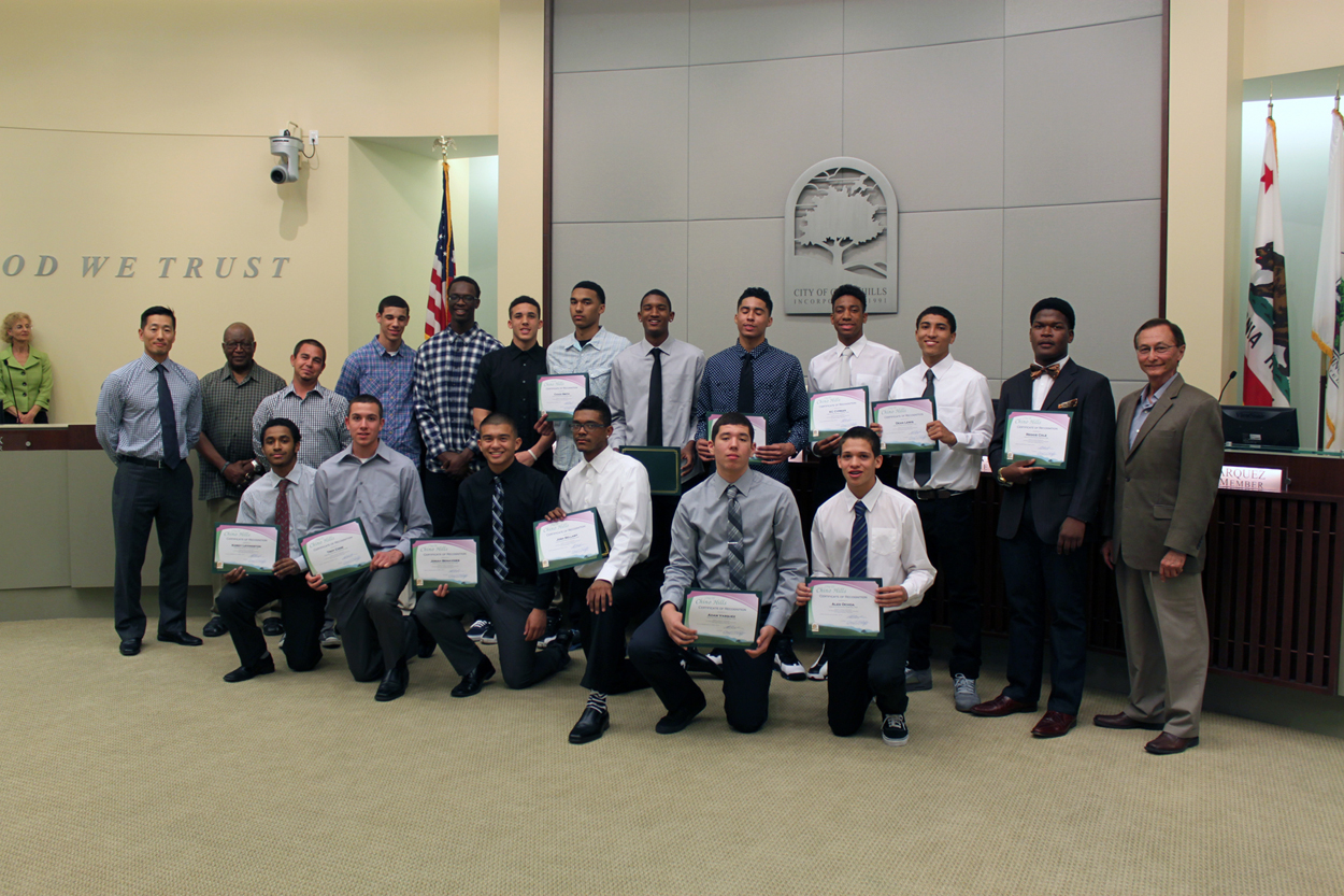 Photo of Chino Hills High School Boys Basketball Team, Coaches, and Mayor Ed Graham