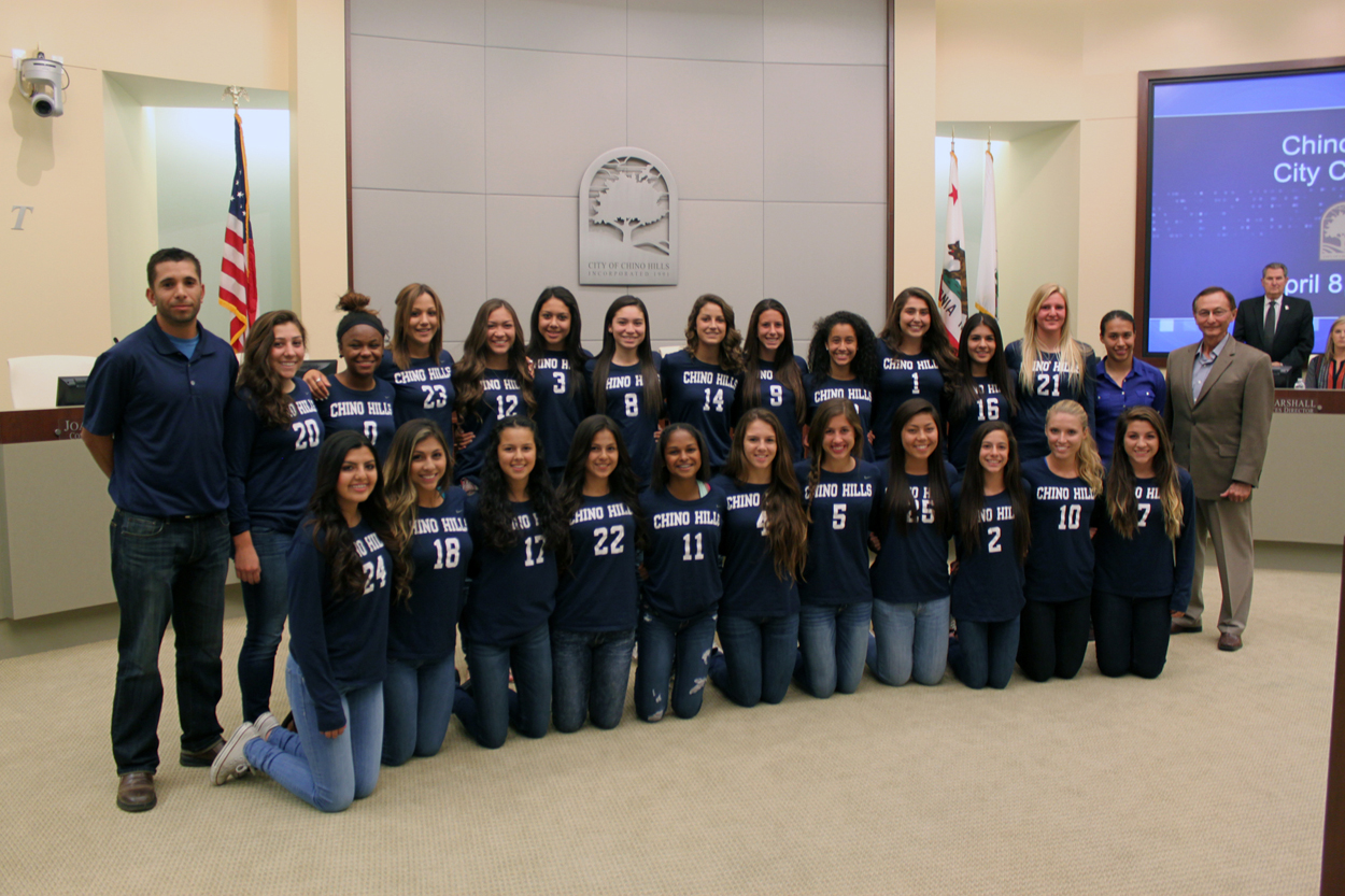 Photo of Chino Hills High School Girls Soccer Team, Coaches, and Mayor Ed Graham