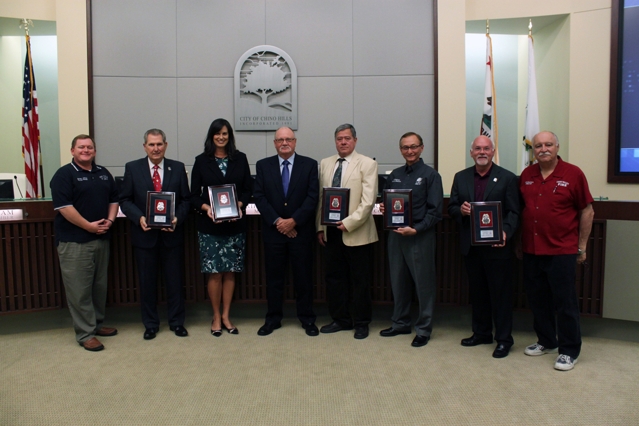City Council Receiving Plaques from the Chino Valley Fire District