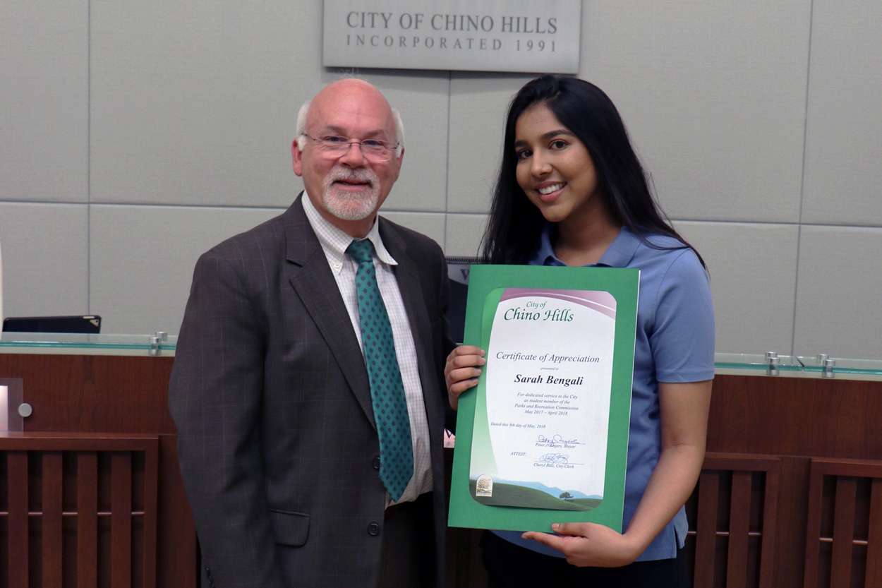 Outgoing Student Member of the Parks and Recreation Commission Sarah Bengali