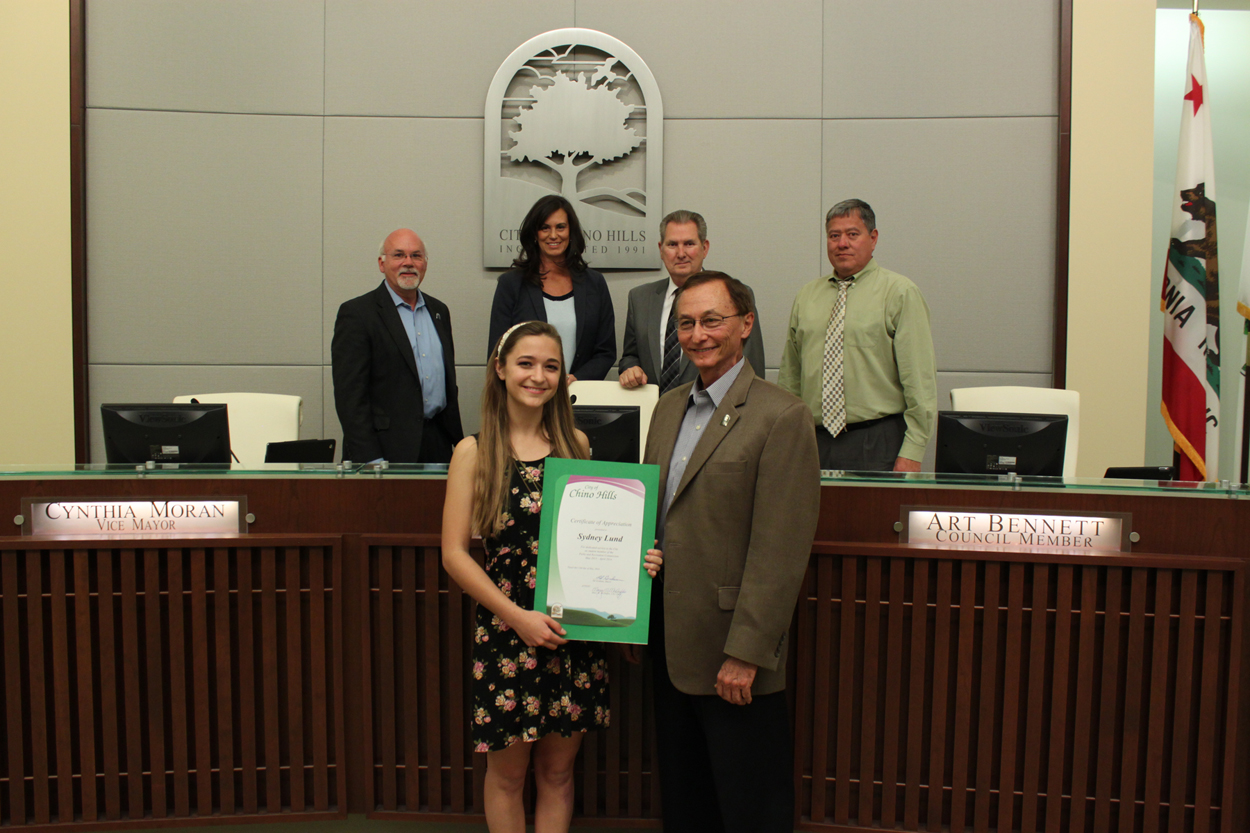 Photo of outgoing Student Park and Recreation Commissioner with the Chino Hills City Council