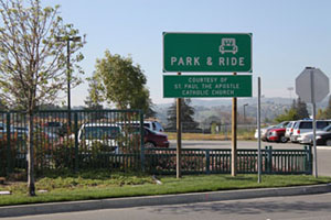 Park and Ride lot entrance