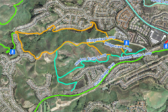 Map of Ridgeview and Hidden Trails Loops